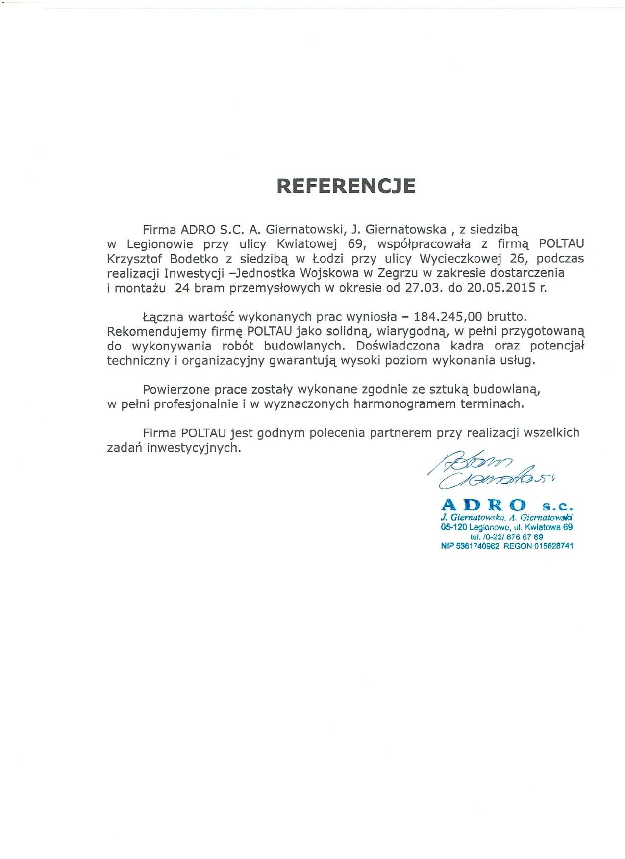 Referencje ADRO