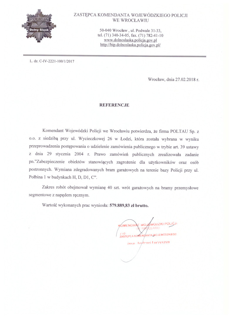 Referencje - Policja we Wrocławiu